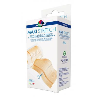 Verpackung MAXI Stretch, hautfarbener Wundverband zum Zuschneiden im Format 8cm x 0,5m.