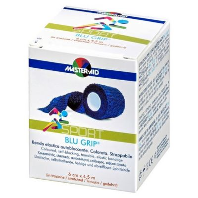 Verpackung der blauen Fixierbinde Blu Grip in der Größe 6 cm mal 4,5 m