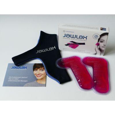 JAWLAX Set zur Kiefernmuskel-Entspannung bestehend aus einem Stoffband, zwei Wärmepads, sowie einer Gebrauchsanleitung mit Übungen