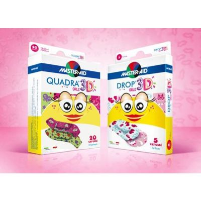 Vorteilspack Kinderpflaster für Mädchen, bestehend aus 2 Packungen Quadra 3D und 2 Packungen Drop 3D Girls