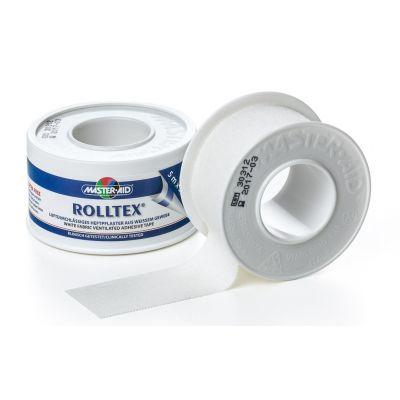 Verpackung und Einzelspule etwas abgewickelt des weißen Master Aid Spulenpflasters ROLLTEX® mit starker Haftung