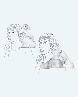 Zeichnung Durchführung einer Übung bei Kieferschmerzen